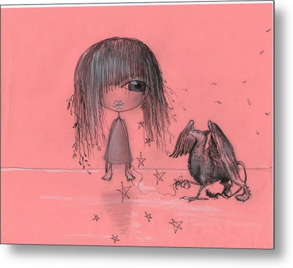 Girl With Griffin  Metal Print