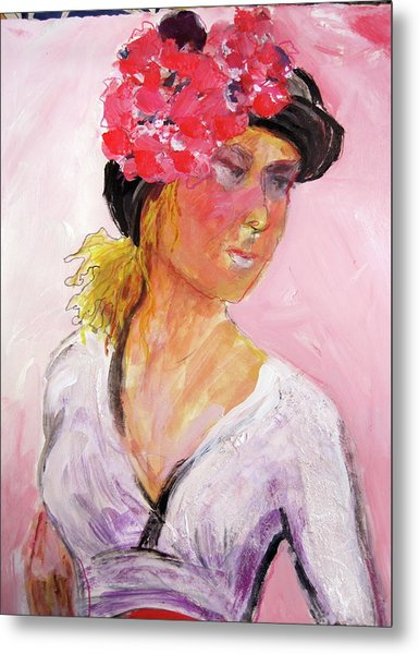Girl With Hat Metal Print