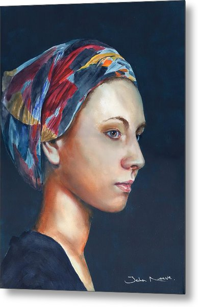 Girl With Headscarf Metal Print