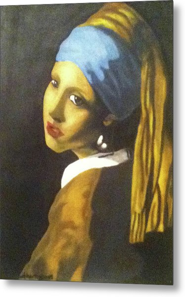 Metal Print featuring the painting Girl With Pearl Earring by Jayvon Thomas