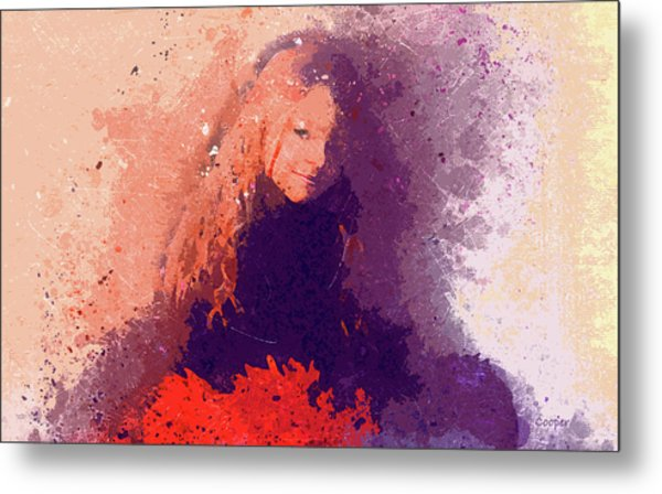 Girl With Red Flowers 2 Metal Print