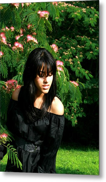 Girl With The Flower Tree Metal Print by Maria Isabel Garcia