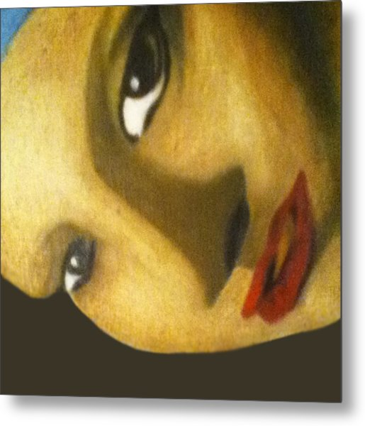 Metal Print featuring the painting Girl With The Pearl Earring Close Up by Jayvon Thomas