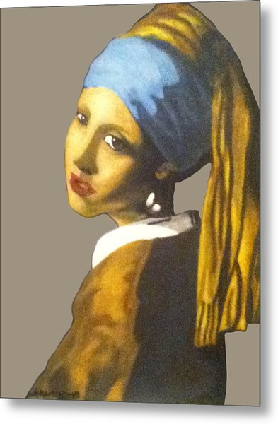 Metal Print featuring the painting Girl With The Pearl Earring No Background by Jayvon Thomas
