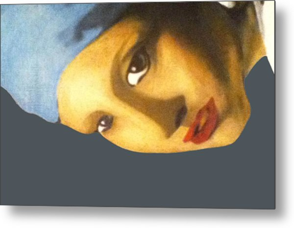Metal Print featuring the painting Girl With The Pearl Earring Side by Jayvon Thomas
