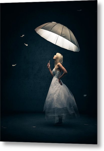 Girl With Umbrella And Falling Feathers Metal Print