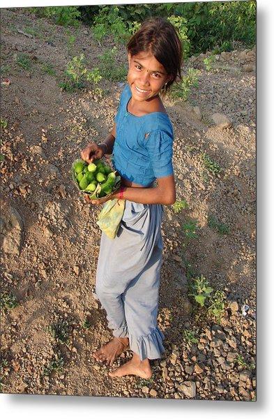 Girl With Vegetables.... Metal Print by Sandeep Khanwalkar