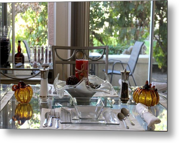 Giving Thanks In California Thanksgiving Table Metal Print