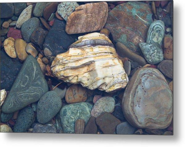 Glacier Park Creek Stones Submerged Metal Print