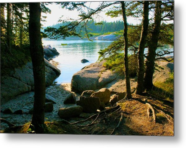Glade To The Side Of Sand Beach Metal Print
