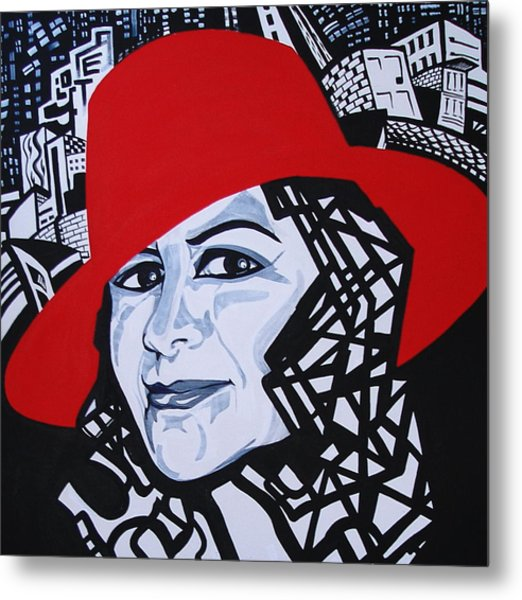 Glafira Rosales In The Red Hat Metal Print