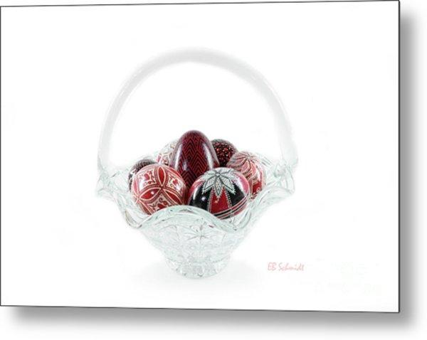 Glass Basket Full Of Eggs Metal Print