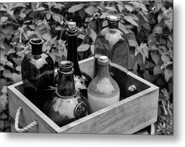 Glass Bottles In The Garden Metal Print