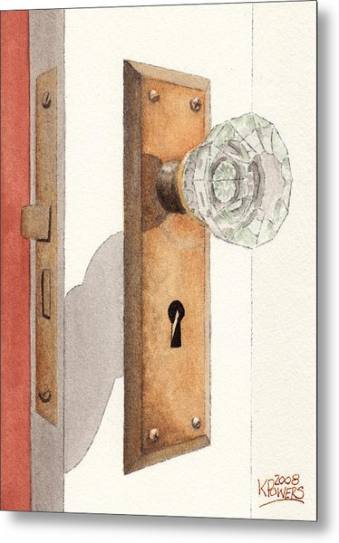 Glass Door Knob And Passage Lock Revisited Metal Print
