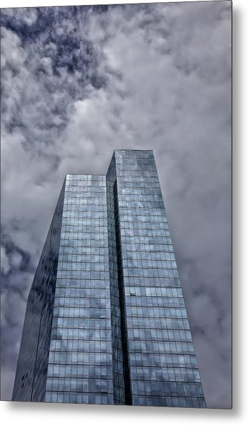 Glass High Rise And Clouds Metal Print by Robert Ullmann