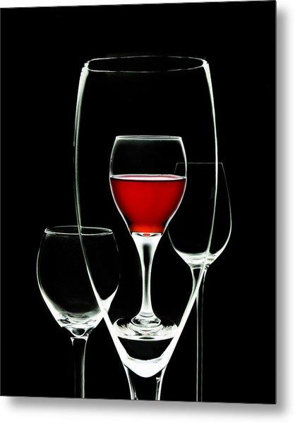 Glass Of Wine In Glass Metal Print