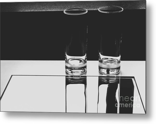 Glasses On A Table Bw Metal Print