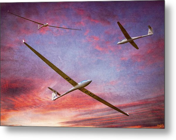 Gliders Over The Devil's Dyke At Sunset Metal Print