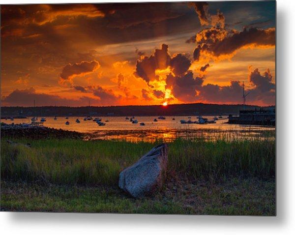 Gloucester Harbor Sunset Metal Print