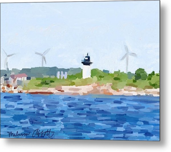 Gloucester Ma Skyline From Harbor Metal Print