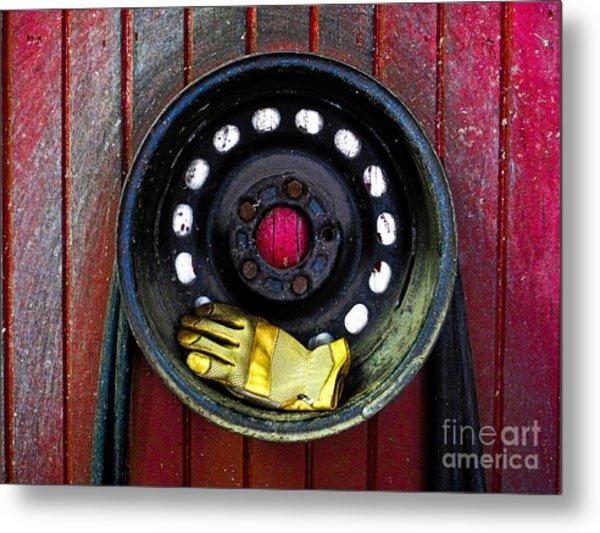 Glove And Wheel Metal Print
