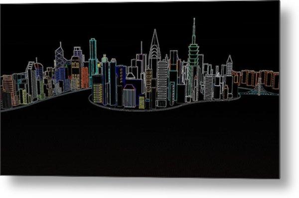 Glowing City Metal Print