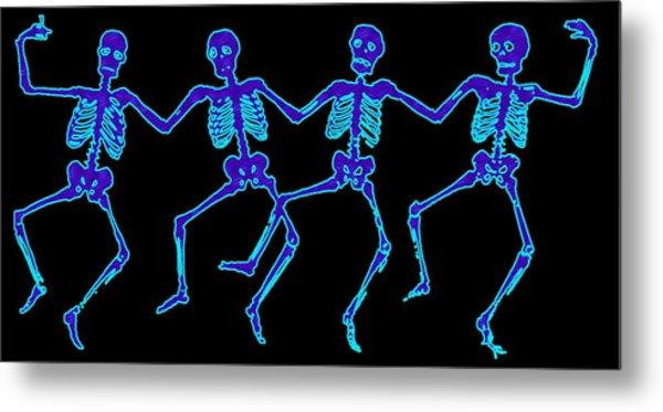 Metal Print featuring the digital art Glowing Dancing Skeletons by Jennifer Hotai