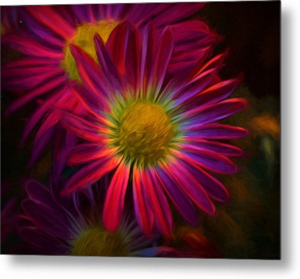 Glowing Eye Of Flower Metal Print