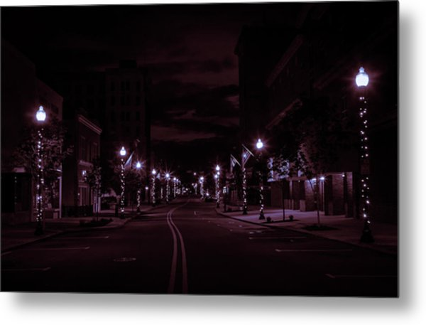 Glowing Streets Downtown Metal Print