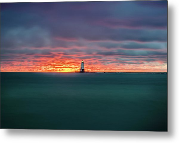 Glowing Sunset On Lake With Lighthouse Metal Print