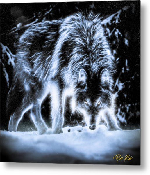 Glowing Wolf In The Gloom Metal Print