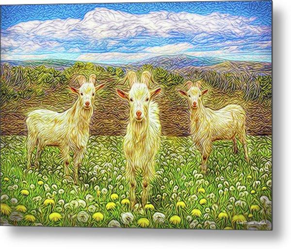 Goats In The Dandelions Metal Print