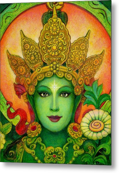Goddess Green Tara's Face Metal Print
