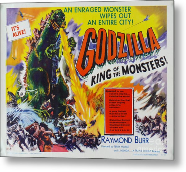 Godzilla King Of The Monsters An Enraged Monster Wipes Out An Entire City Vintage Movie Poster Metal Print