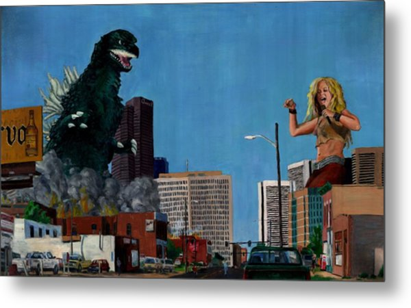 Godzilla Versus Shakira Metal Print