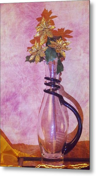 Gold Flowers Pink Background Metal Print