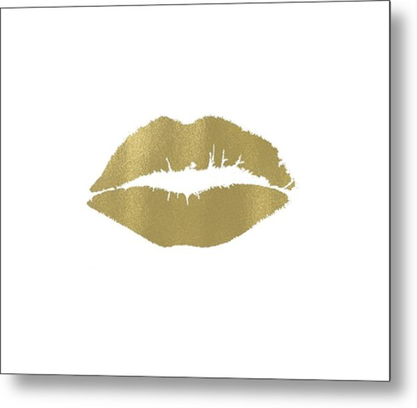 Gold Lips Kiss Metal Print