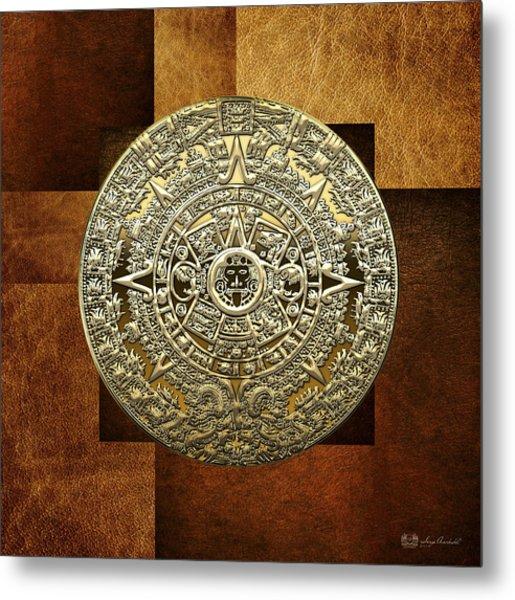 Gold Mayan-aztec Calendar On Brown Leather Metal Print