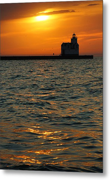 Gold On The Water Metal Print