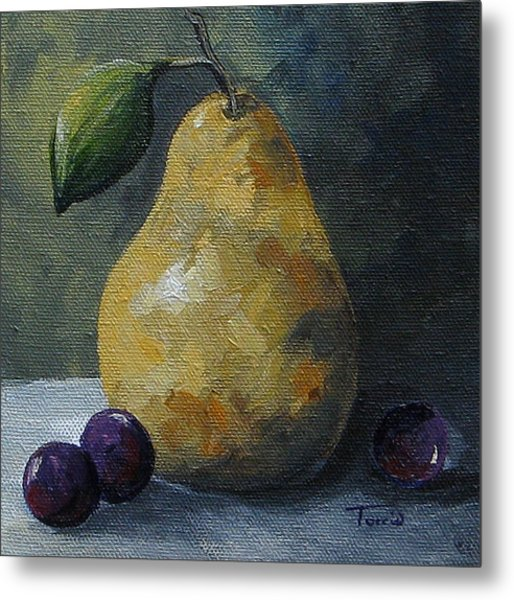 Gold Pear With Grapes  Metal Print