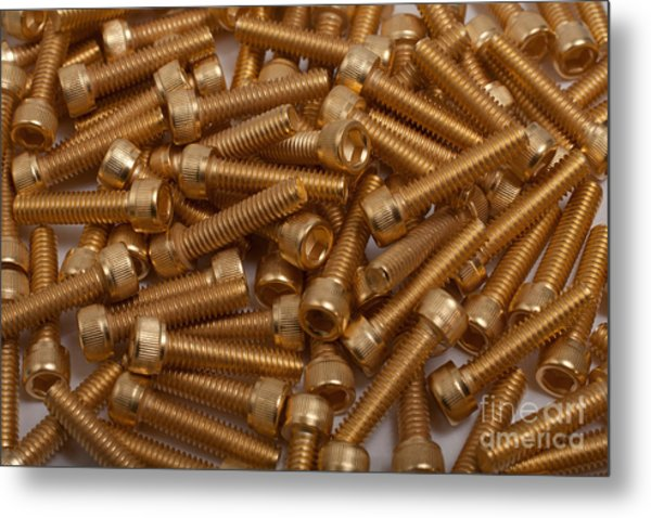 Gold Plated Screws Metal Print