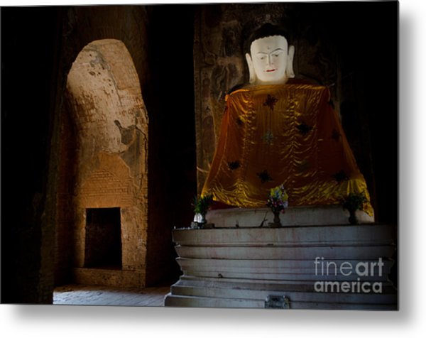 Gold Shrouded Buddha In Burma Basks In Natural Light By Temple Portal Metal Print