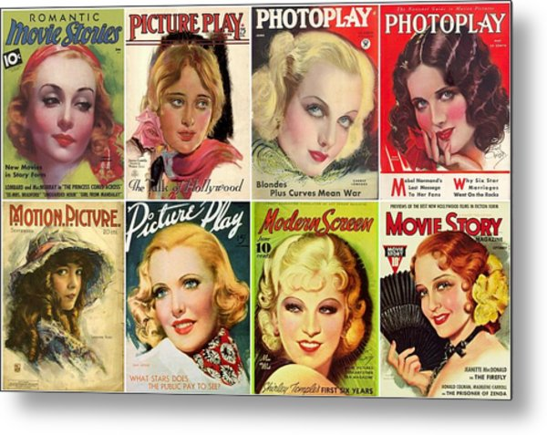 Golden Age Of Movies Magazine Covers Metal Print