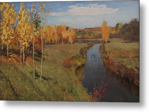 Golden Autumn Metal Print by Isaac Levitan