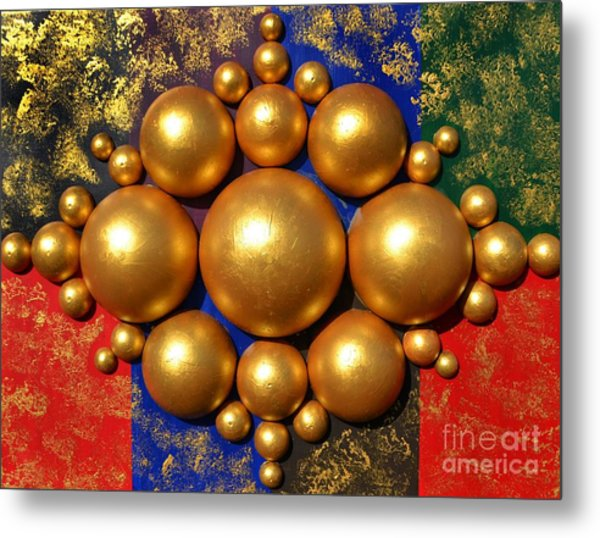 Golden Bubbles Metal Print