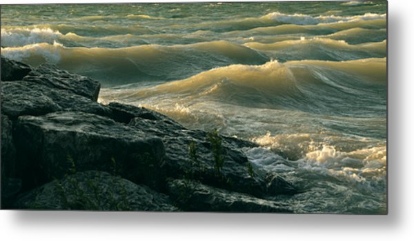 Golden Capped Sunset Waves Of Lake Michigan Metal Print