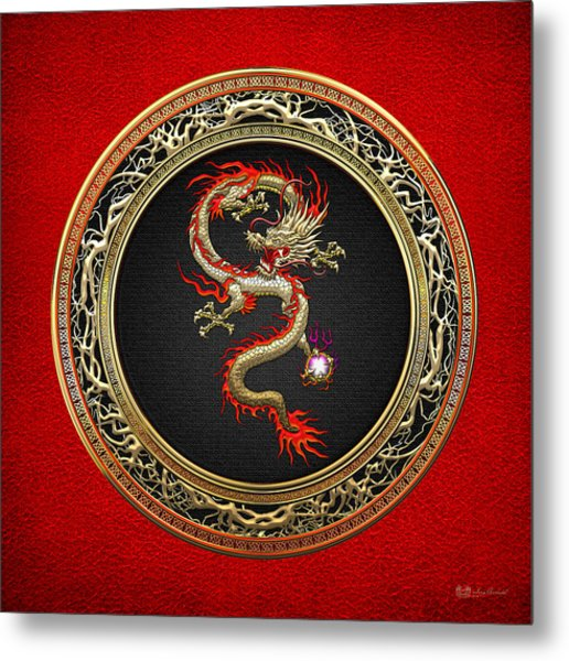 Golden Chinese Dragon Fucanglong On Red Leather  Metal Print