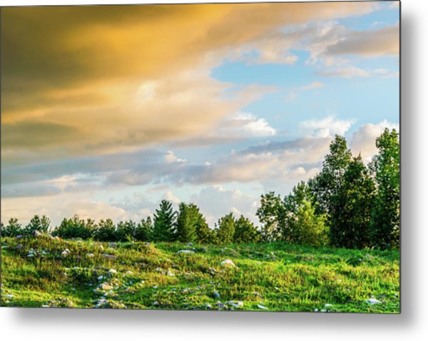 Golden Clouds Metal Print
