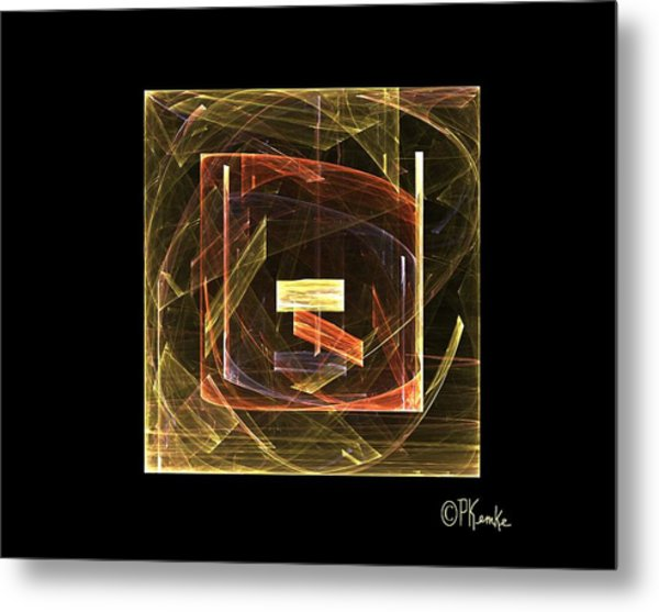 Golden Cube Metal Print