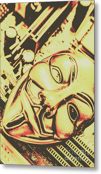 Golden Cyber Rebellion Metal Print